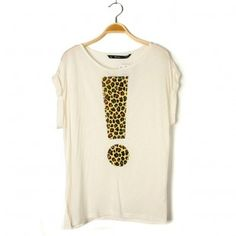 Exclamation Mark Loose Half Cuff Sleeve T-Shirt