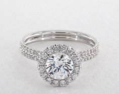 engagement rings, danhov, 18k white gold per lie double shank halo style le506q by danhov item 59893 - Mobile