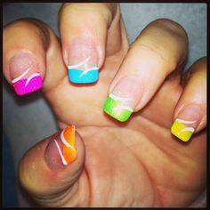 colorful by Nail Art Gallery nailartgallery.na by Nails Magazine - - colorful by Nail Art Gallery nailartgallery.na by Nails Magazine Gel Toe Nails, Neon Nails, Love Nails, Acrylic Nails, Nail Art Designs, French Nail Designs, Nails Design, Nail Art Hacks, French Nails