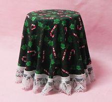 Dollhouse Miniature Table Side with Skirt Christmas Lace Chrysnbon 1:12 Scale