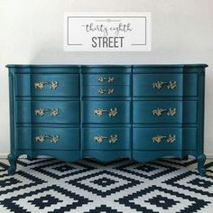 K--Thirty Eighth Street | Turquoise French Provincial Dresser Tutorial. Learn How To Paint Furniture And Save Hundreds Of Dollars From Buying New! The Dixie Bedroom Collection.