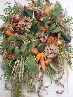 Premium Summer or Fall Vegetable Garden Mesh Wreath by WilliamsFloral on Etsy https://www.etsy.com/listing/386968780/premium-summer-or-fall-vegetable-garden