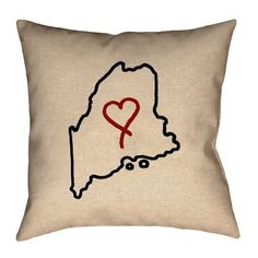 """Ivy Bronx Austrinus Maine Love Outline Double Sided Print Size: 26"""" x 26"""", Type: Throw Pillow, Fill Material: Cotton Twill"""