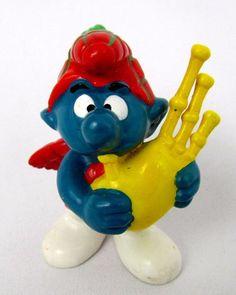 Vtg 1978 Smurfs Peyo SCOT WITH BAGPIPES Smurf 20105 Schleich HK PVC Figure Toy #Schleich