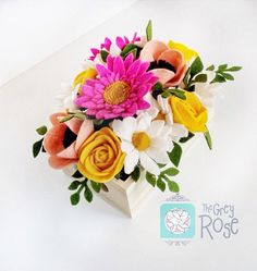 Flower Box - Felt Flower Box - Flower Arrangements - Flower Arrangements Centerpiece - Flower Decor - Flower Decorations - Felt Flowers