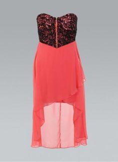 Coral & black dress. I'd wear it if it would be longer.
