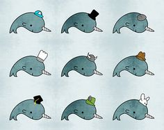 Kawaii Cartoon Grunge Narwhals with hats by hellohappy Narwhal Pictures, Iphone Ca, Mermaid Drawings, Kawaii Doodles, Sun And Stars, Star Stickers, Body Art Tattoos, Narwhals, Whale