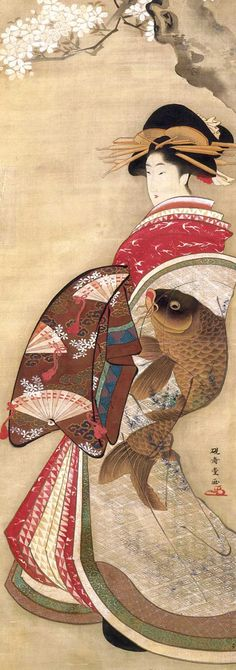 桜下美人図 硯寿堂(けんじゅどう、生没年不詳)、江戸時代の浮世絵師(津田景彦との見解もある)