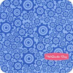 On the Go Blue Gears Yardage SKU# C3185-BLUE - Fat Quarter Shop