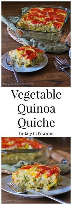 Vegetable and Quinoa Quiche Recipe. Just add eggs and you're ready for mother's day(Vegan Casserole Breakfast) Vegetable Quinoa, Healthy Vegetable Recipes, Healthy Breakfast Recipes, Clean Eating Recipes, Vegetarian Recipes, Healthy Eating, Cooking Recipes, Breakfast Ideas, Delicious Recipes