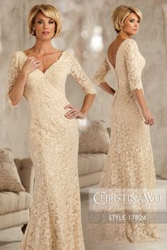 #ChristinaWuElegance Style 17824 Sequined lace gown featuring a V neck and back, ó-length sleeves, and a trumpet skirt with a sweep train. MATERIAL Sequin Lace SILHOUETTE Pencil NECKLINE V-Neck COLOR Champagne, Black