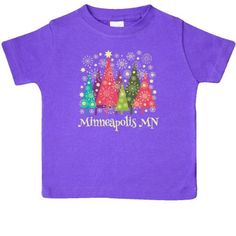 Inktastic Minneapolis Minnesota Christmas Baby T-Shirt Cities City Tree Holiday Cute Gift State Towns Pride Travel T-shirt Infant Tees Shower Clothing Apparel Hws, Infant Girl's, Size: 12 Months, Purple