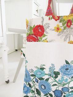 Vintage tablecloths revamped.