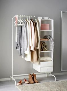 Extend your closet in a spacious bedroom: This cheap clothing rack makes for stylish bedroom decor when you hang up your favorite fashion items. Click through to find more easy closet organization ideas for a small space. Mini Dressing, Dressing Ikea, Dressing Rooms, Closet Bedroom, Closet Space, Clothes Rack Bedroom, Ikea Clothes Rack, Diy Bedroom, Diy Clothes Rack Cheap