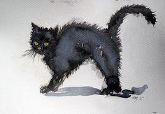 Cat Painting by Kovacs Anna Brigitta