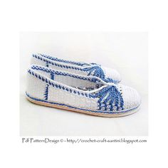 Blue-Bow basic Crochet slippers, tailored, fabric-covered insoles, and Cord soles attached as last!Ready for street-wear.
