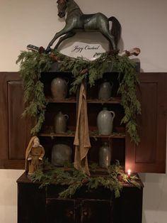 Christmas at the Casteel home, circa Beautiful! Nordic Christmas Decorations, Primitive Christmas Decorating, Primitive Country Christmas, Prim Christmas, Xmas, Christmas Displays, Prim Decor, Christmas Wonderland, Primitive Furniture