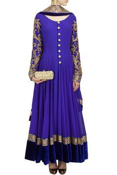 Royal blue color floor length anarkali suit – Panache Haute Couture