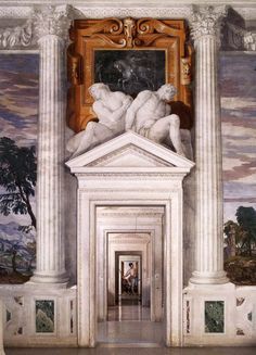 Villa Barbaro, also known as Villa di Maser, is a large villa at Maser in Veneto - northern Italy. It was designed and built by the Italian architect Andrea Palladio, with frescos by Paolo Veronese and sculptures by Alessandro Vittoria. Art Et Architecture, Neoclassical Architecture, Historical Architecture, Beautiful Architecture, Beautiful Buildings, Architecture Details, Sustainable Architecture, Andrea Palladio, Italian Villa