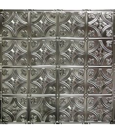 """The #3 tin ceiling tile (24""""x24"""") is the 6 """" version of our #2 Victorian pattern, the industry's top seller. It is a favorite choice for backsplashes and small accent areas for it's beautiful floral coins and arching diamonds. Unfinished is $1.75/sq foot ($7.00) ~~~For Kitchen Back Splash; Spray Paint Pewter & Antique~~~"""