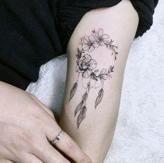 floral dreamcatcher, dream catcher tattoo for men, inside arm tattoo, silver ring, black sweater Tribal Tattoos, Native Tattoos, Tattoos Skull, Ring Tattoos, Elegant Tattoos, Beautiful Tattoos, Wrist Tattoos For Women, Tattoos For Guys, Inside Of Arm Tattoo