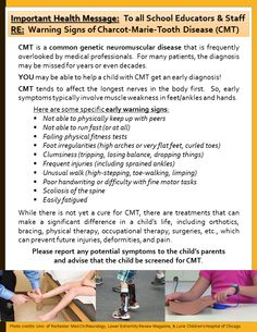 This is an informational flyer that may be used to raise awareness about CMT in our schools.