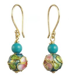 Cloisonne Bead Drop Earrings - made several different colour combinations using Cloisonne in different shapes as well.  Always a hit and gives me an excuse to break away from the silver for awhile.  Sold well at my Christmas 2013 Sale.