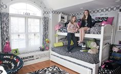 Older siblings, shared bedroom, black and white, teen space, bunk beds