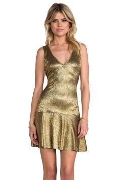 SAM&LAVI Lesa Dress in Metallic Gold Knit from REVOLVEclothing