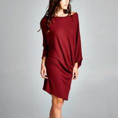 """""""Moment's Indulgence"""" Slouchy Tunic or Dress Slouchy tunic or dress. Soft brushed fabric. Available in black, burgundy and speckled grey. This listing is for the BURGUNDY. Brand new. True to size. NO TRADES. Bare Anthology Dresses Mini"""