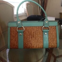 Purse Turquoise and wicker handbag with silver accents Michael Kors Bags Shoulder Bags