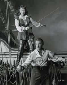 Image detail for -Flynn Rehearses Swordplay on Universal Soundstage