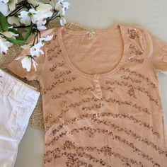 """J.Crew Scoopneck Sequin Tee Basic peach colored scoop neck tee from J.Crew in their classic soft t-shirt material, embellished with rose gold sequins. 2 decorative buttons at neckline, plain back. VGUC, sight fading under arms as pictured. Sz XS, Chest 15"""", Length 23.5"""" Offers considered, but ❌no offsite transactions J. Crew Tops"""