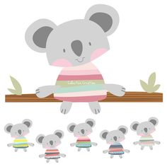 Koala Digital Clipart Set- Personal and Commercial Use - Scrapbooking, Cards, Invitations, Paper Crafts etc
