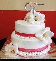 Simple Pink Wedding Cake Bake Your Day, LLC - Alexandria, LA www.facebook.com/bakeyourdayllc (318) 229-0299 bakeyourdayllc@hotmail.com