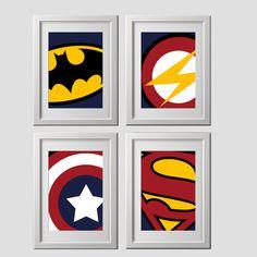 superhero wall art prints, super hero wall art prints, high quality prints shipped to your door, set of 4, batman bedroom, superhero bedroom by AmysSimpleDesigns on Etsy https://www.etsy.com/listing/280796614/superhero-wall-art-prints-super-hero