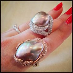 "@diamondsinthelibrary: ""A couple more of @yoko_london's stunning #diamond and pearl #rings."""