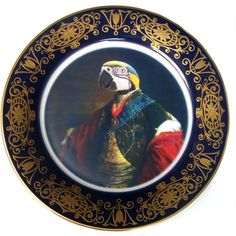 Earl of Psittacoidea Portrait Plate 10.65' (£86) ❤ liked on Polyvore featuring home, home decor, grey, home & living, home décor, ornaments & accents, grey plates, gray plates, gray home decor and grey home decor