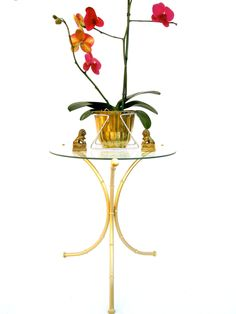 Vtg Hollywood Regency Gold Faux Bamboo & Glass Tripod Accent Table by ElectricMarigold on Etsy