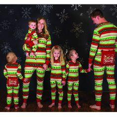 3f0faea310 Green Striped Family Matching Christmas Pajamas Set