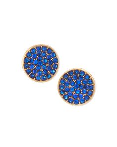 Blue Pave Disc Studs, Yellow Gold/Blue - Jules Smith