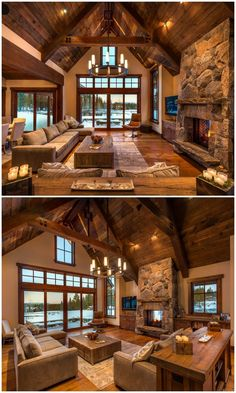 Rustic Living Rooms Ideas - Rustic style is a preferred interior design specific. - Rustic Living Rooms Ideas – Rustic style is a preferred interior design specifically matched to p - Rustic Design, Rustic Style, Rustic Bedroom Design, Rustic Kitchen Design, Log Cabin Homes, Log Cabin House Plans, Cabin Style Homes, Cabins In The Woods, House In The Woods