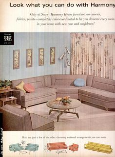 This sofa is just amazing - Ad for Sears Harmony House, 1957