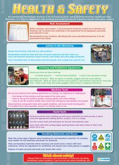 From our Design and Technology poster range, the Health & Safety Poster is a great educational resource that helps improve understanding and reinforce learning. Health And Safety Poster, Safety Posters, Technology Posters, Science Posters, Safety Management System, Business Studies, Internet Safety, Classroom Walls, Class Design