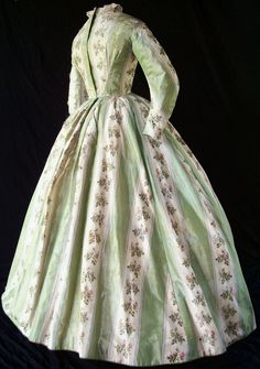 Warp-printed dress, circa 1864.