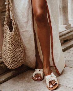 White mules, linen dress, french knit bag for market strolls