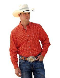 Cinch Men's Modern Fit Orange Square Long Sleeve Shirt – Keffeler Kreations | HilltopBoutique.com