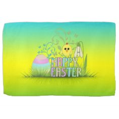 Delightful Cute Colorful Happy Easter Egg, Chick And Snowdrop Hand Towel Nice Design