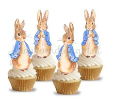 Peter Rabbit Cake, Shark Party, Easter Printables, Cupcake Toppers, Easter Party, Beatrix Potter, 1st Birthday Parties, Mini Cupcakes, Babyshower