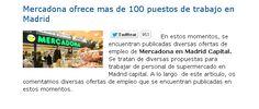 Mercadona ofrece mas de 100 puestos de trabajo en Madrid